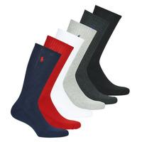 配件 男士 短筒袜 Polo Ralph Lauren ASX110 6 PACK COTTON 黑色 / 红色 / 海蓝色 / 灰色 / 灰色 / 白色