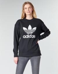 衣服 女士 卫衣 Adidas Originals 阿迪达斯三叶草 TRF CREW SWEAT 黑色