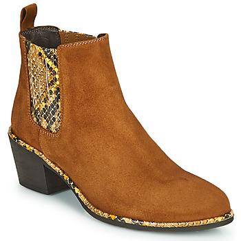 鞋子 女士 短靴 Regard NOISY V2 VELOURS SAFRAN 棕色