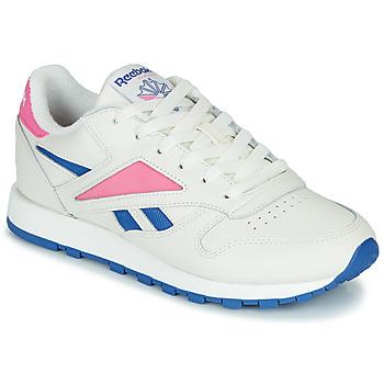 鞋子 球鞋基本款 Reebok Classic CL LEATHER MARK 白色 / 玫瑰色
