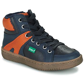 鞋子 男孩 高帮鞋 Kickers Lowell 海蓝色 / 橙色