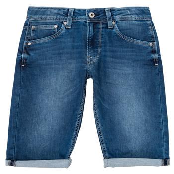 衣服 男孩 短裤&百慕大短裤 Pepe jeans CASHED SHORT 蓝色