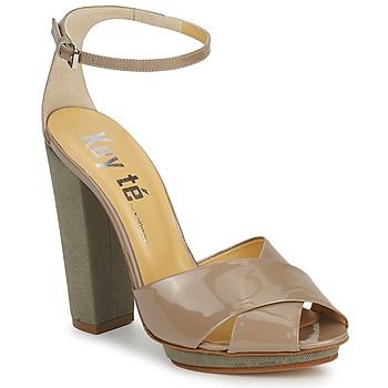 鞋子 女士 凉鞋 Keyté KRISTAL-26722-TAUPE-FLY-3 灰褐色
