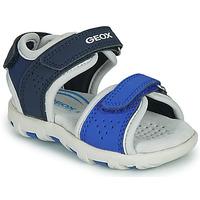 鞋子 男孩 凉鞋 Geox 健乐士 B SANDAL PIANETA 蓝色