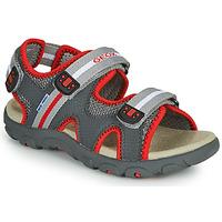 鞋子 男孩 凉鞋 Geox 健乐士 JR SANDALE STRADA 灰色 / 红色