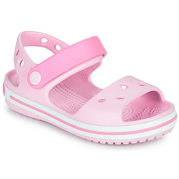 鞋子 女孩 凉鞋 crocs 卡骆驰 CROCBAND SANDAL KIDS 玫瑰色