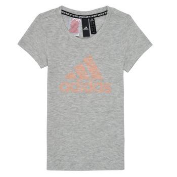 衣服 女孩 短袖体恤 adidas Performance 阿迪达斯运动训练 JG A MHE TEE 白色