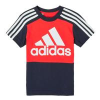 衣服 男孩 短袖体恤 adidas Performance 阿迪达斯运动训练 B CB T 红色 / 海蓝色