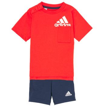衣服 男孩 女士套装 adidas Performance 阿迪达斯运动训练 BOS SUM  SET 红色 / 黑色