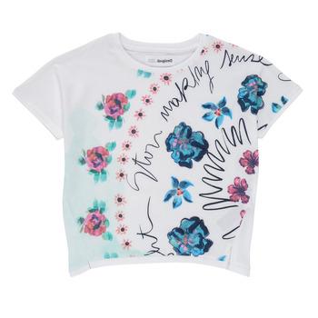 衣服 女孩 短袖体恤 Desigual 21SGTK02-1000 白色