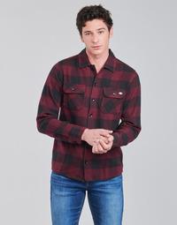 衣服 男士 长袖衬衫 Dickies 迪凯思 NEW SACRAMENTO SHIRT MAROON 波尔多红 / 黑色