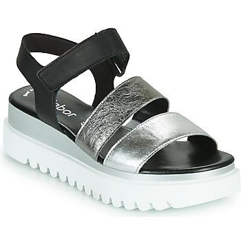 鞋子 女士 凉鞋 Gabor 嘉宝 6461061 黑色 / 白色 / 银灰色