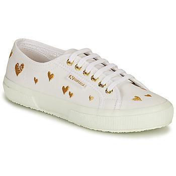 鞋子 女士 球鞋基本款 Superga 2750 HEARTS EMBRODERY 白色 / 金色
