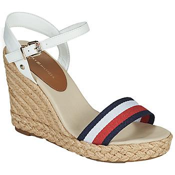 鞋子 女士 凉鞋 Tommy Hilfiger SHIMMERY RIBBON HIGH WEDGE 白色