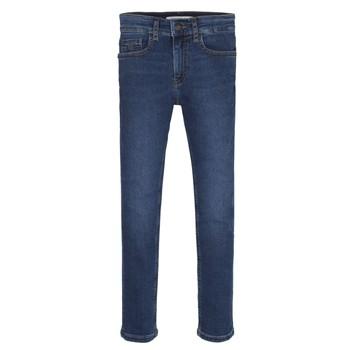 衣服 男孩 牛仔铅笔裤 Calvin Klein Jeans ESSENTIAL ROYAL BLUE STRETCH 蓝色