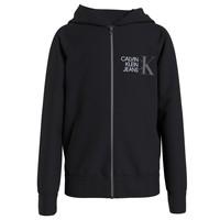 衣服 男孩 卫衣 Calvin Klein Jeans HYBRID LOGO ZIP THROUGH 黑色