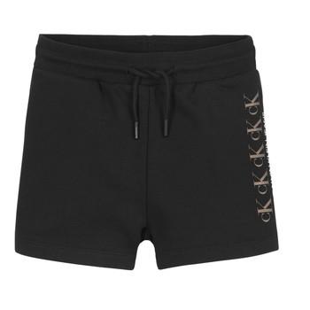 衣服 女孩 短裤&百慕大短裤 Calvin Klein Jeans CK REPEAT FOIL KNIT SHORTS 黑色