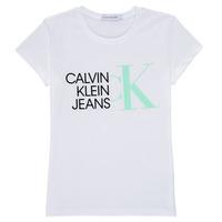 衣服 女孩 短袖体恤 Calvin Klein Jeans HYBRID LOGO SLIM T-SHIRT 白色