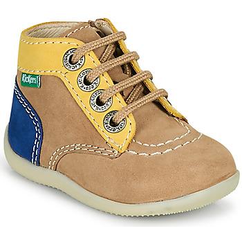 鞋子 男孩 短筒靴 Kickers BONZIP-2 米色 / 黄色 / 海蓝色