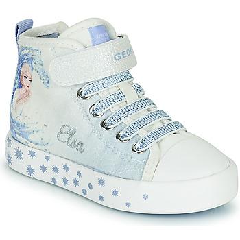 鞋子 女孩 高帮鞋 Geox 健乐士 JR CIAK GIRL 白色 / 蓝色