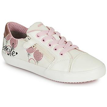 鞋子 女孩 球鞋基本款 Geox 健乐士 GISLI GIRL 白色 / 玫瑰色
