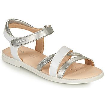 鞋子 女孩 凉鞋 Geox 健乐士 J SANDAL KARLY GIRL 白色 / 银灰色
