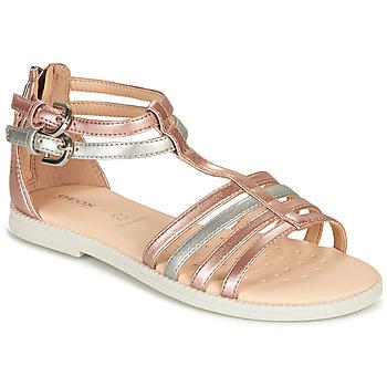 鞋子 女孩 凉鞋 Geox 健乐士 SANDAL KARLY GIRL 玫瑰色 / 银灰色