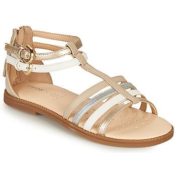 鞋子 女孩 凉鞋 Geox 健乐士 SANDAL KARLY GIRL 米色 / 银灰色 / 白色
