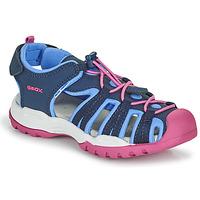 鞋子 女孩 运动凉鞋 Geox 健乐士 BOREALIS GIRL 蓝色 / 玫瑰色