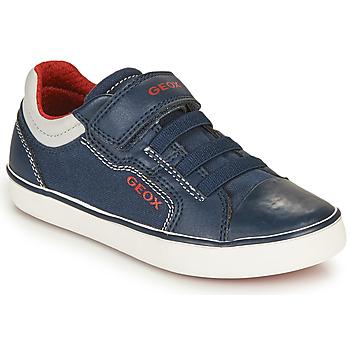 鞋子 男孩 球鞋基本款 Geox 健乐士 GISLI BOY 海蓝色 / 红色