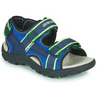鞋子 男孩 运动凉鞋 Geox 健乐士 JR SANDAL STRADA 蓝色 / 绿色
