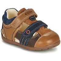 鞋子 男孩 凉鞋 Geox 健乐士 KAYTAN 棕色 / 海蓝色