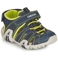 鞋子 男孩 运动凉鞋 Geox 健乐士 SANDAL KRAZE 海蓝色 / 闪光绿