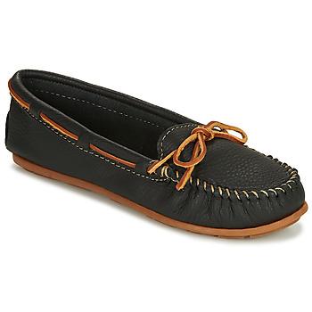 鞋子 女士 皮便鞋 Minnetonka BOAT MOC 黑色