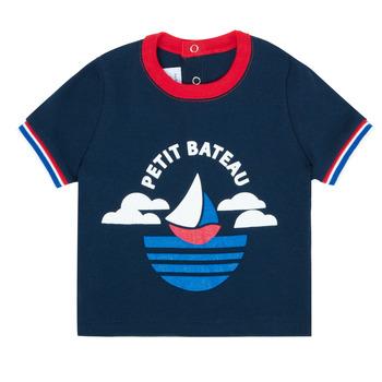 衣服 男孩 短袖体恤 Petit Bateau 小帆船 MENU 海蓝色