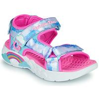 鞋子 女孩 运动凉鞋 Skechers 斯凯奇 RAINBOW RACER 银灰色 / 玫瑰色