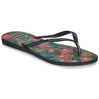 鞋子 女士 人字拖 Havaianas 哈瓦那 SLIM TROPICAL 黑色 / 灰色