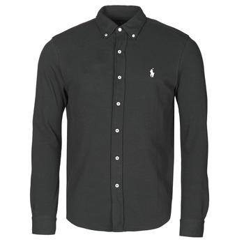 衣服 男士 长袖衬衫 Polo Ralph Lauren CHEMISE AJUSTEE COL BOUTONNE EN POLO FEATHERWEIGHT LOGO PONY PLA 黑色