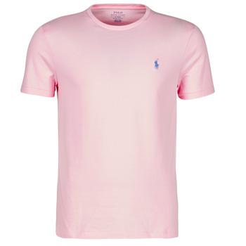 衣服 男士 短袖体恤 Polo Ralph Lauren T-SHIRT AJUSTE COL ROND EN COTON LOGO PONY PLAYER 玫瑰色