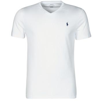 衣服 男士 短袖体恤 Polo Ralph Lauren T-SHIRT AJUSTE COL V EN COTON LOGO PONY PLAYER 白色