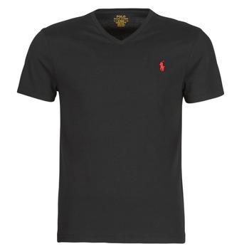 衣服 男士 短袖体恤 Polo Ralph Lauren T-SHIRT AJUSTE COL V EN COTON LOGO PONY PLAYER 黑色