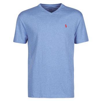 衣服 男士 短袖体恤 Polo Ralph Lauren T-SHIRT AJUSTE COL V EN COTON LOGO PONY PLAYER 蓝色 / Pale / Royal / Heather