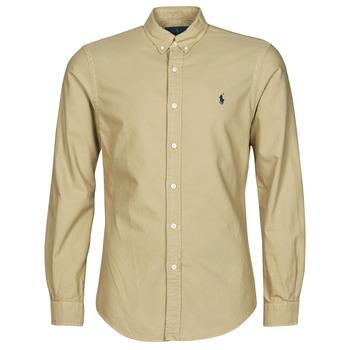 衣服 男士 长袖衬衫 Polo Ralph Lauren CHEMISE CINTREE SLIM FIT EN OXFORD LEGER TYPE CHINO COL BOUTONNE 米色