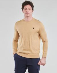 衣服 男士 羊毛衫 Polo Ralph Lauren PULL COL ROND AJUSTE EN COTON PIMA LOGO PONY PLAYER 驼色