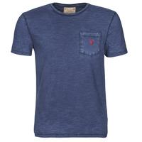 衣服 男士 短袖体恤 Polo Ralph Lauren T-SHIRT AJUSTE COL ROND EN COTON LOGO PONY PLAYER 蓝色