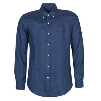 衣服 男士 长袖衬衫 Polo Ralph Lauren CHEMISE AJUSTEE EN LIN COL BOUTONNE  LOGO PONY PLAYER 蓝色