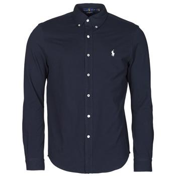 衣服 男士 长袖衬衫 Polo Ralph Lauren CHEMISE AJUSTEE COL BOUTONNE EN POLO FEATHERWEIGHT LOGO PONY PLA 海蓝色