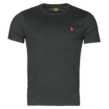 衣服 男士 短袖体恤 Polo Ralph Lauren T-SHIRT AJUSTE COL ROND EN COTON LOGO PONY PLAYER 黑色