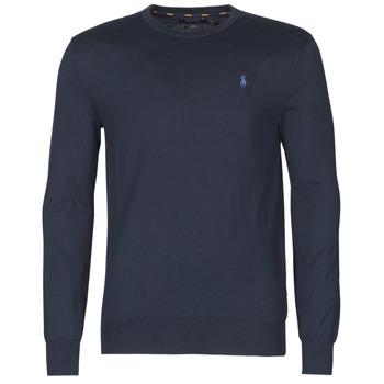 衣服 男士 羊毛衫 Polo Ralph Lauren PULL COL ROND AJUSTE EN COTON PIMA LOGO PONY PLAYER 蓝色