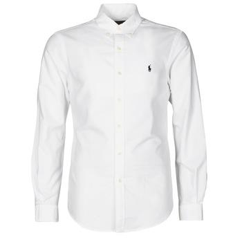 衣服 男士 长袖衬衫 Polo Ralph Lauren CHEMISE CINTREE SLIM FIT EN OXFORD LEGER TYPE CHINO COL BOUTONNE 白色
